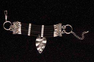 #100 Cuff Bracelet With Art Deco Style Heart Pendant