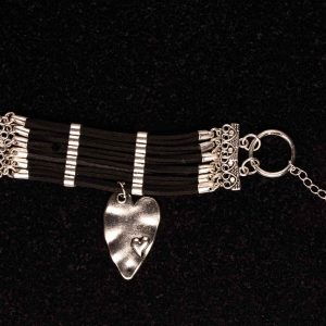 #100 Cuff Bracelet With Art Deco Style Heart Pendant