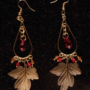#106 Bronze Leaf Earrings With Swarovski Crystals