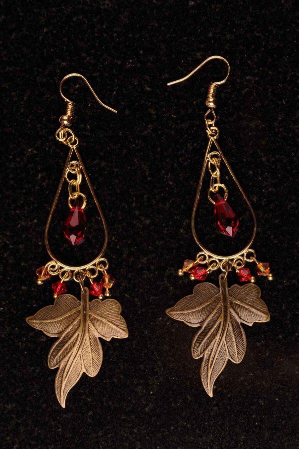#106 Bronze Leaf Earrings With Swarovski Crystals