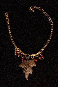 #107 Bracelet With Bronze Leaf And Swarovski Crystals.