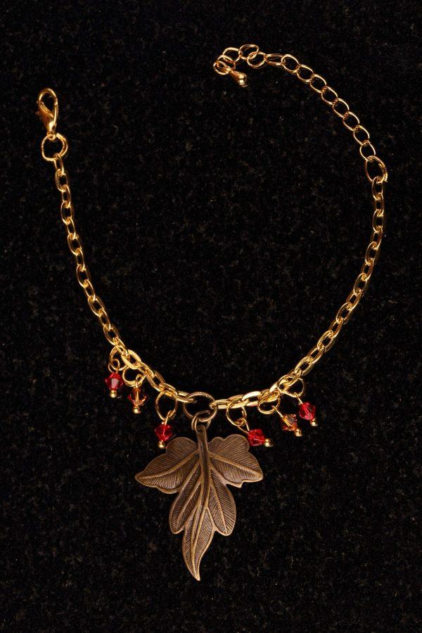 #107 Bracelet With Bronze Leaf And Swarovski Crystals.