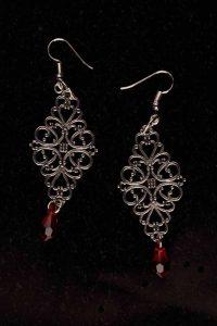 #109 Filigree And Siam Red Swarovski Crystal Earrings