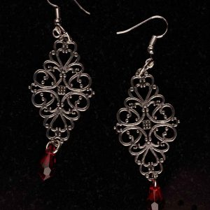 #109 Filigree And Siam Red Swarovski Crystal Earrings