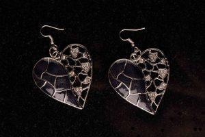 #111 Asymmetrical Black Heart Earrings