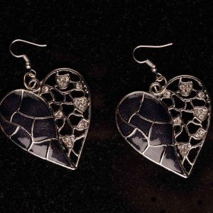 #111 Asymmetrical Black Heart Earrings