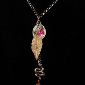 #112 Tribal Snake Statement Necklace With Leaf
