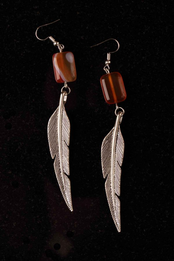 #124 Red Agate Art Deco Feather Earrings