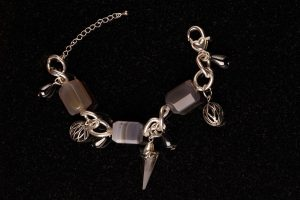 #125  Agate And  Swarovski Crystal Spike Bracelet
