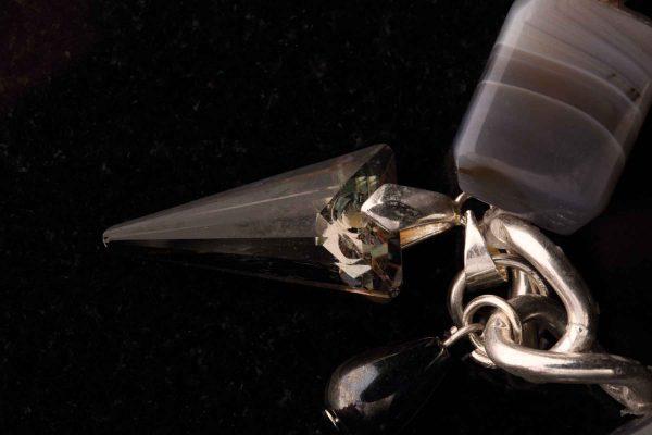#125  Agate And  Swarovski Crystal Spike Bracelet