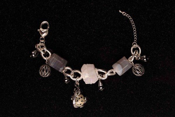 #126 Agate, Haematite, Dalmatian Jasper And Quartz Bracelet
