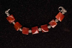 #127 Red Agate And Silvertone Bracelet