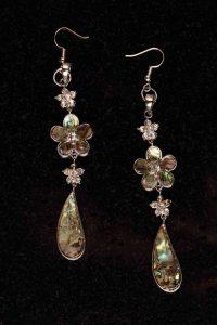 #135 Rhinestone And Abalone Shell  Drop Earrings