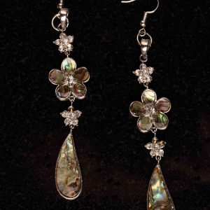 #135 Rhinestone And Abalone Shell  Drop Earrings