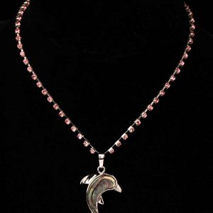 #137 Child's Dolphin And Rhinestone Cup Chain necklace