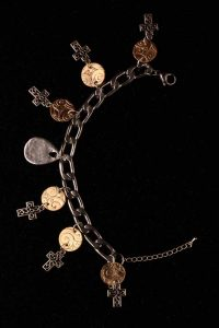 #142 Stainless Steel Chain Bracelet With Celtic Style Crosses