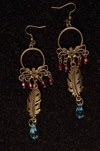 #143 Bronze Feather And Swarovski Crystal Earrings