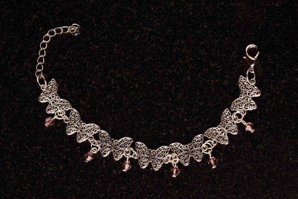 #145 Butterfly And Pink Swarovski Crystals Bracelet
