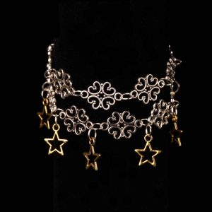 Double-stranded Filigree Connectors With Stars Bracelet