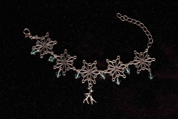 #177  Snow Flake, Swarovski Crystals and Reindeer Bracelet