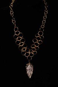 #181 Chain Maille Necklace With Quartz Arrowhead