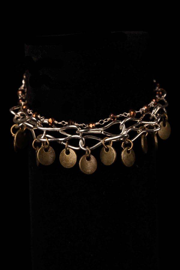 #90 Gypsy Style Bracelet With Brass Disks.