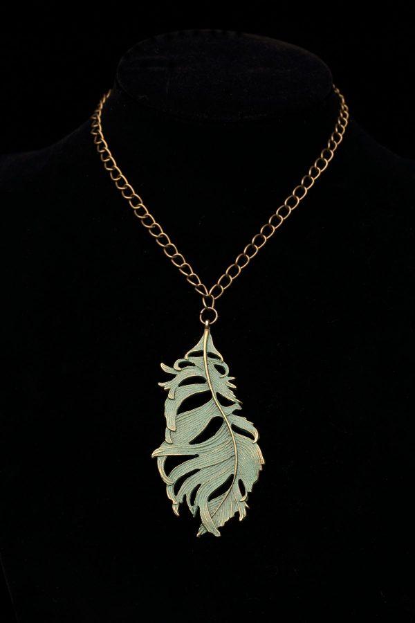 Large Leaf Pendant on Antique Bronze Chain
