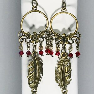 Swarovski Crystal Earrings with Bronze Feather