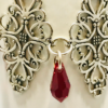 Filigree Bracelet With Siam Red Swarovski Crystals.