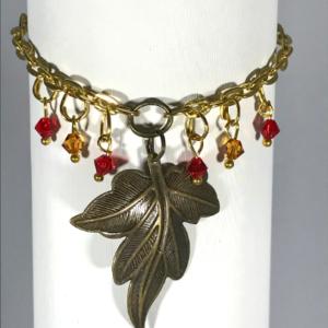 Bracelet With Bronze Leaf And Swarovski Crystals.
