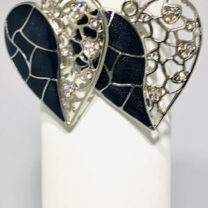 Asymmetrical Black Heart Earrings
