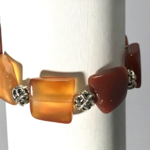 Red Agate And Silvertone Bracelet