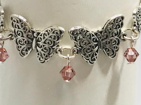 Butterfly And Pink Swarovski Crystals Bracelet