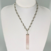 Rosary Chain Necklace With Rose Quartz Pendant