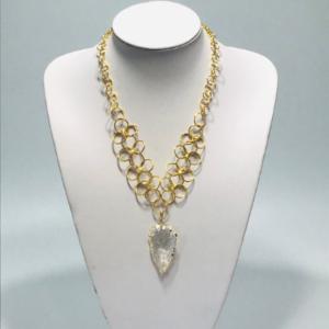 Chain Maille Necklace With Quartz Arrowhead