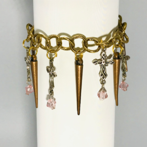 Antique Gold Bracelet With Crosses And Spikes