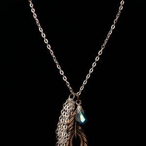 Antique Bronze Leaf And Swarovski Crystal Necklace