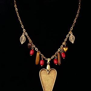 Gold Plated Heart Necklace With Charms