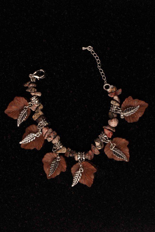 #170 Tribal Lucite and Leopard Skin Jasper Bracelet