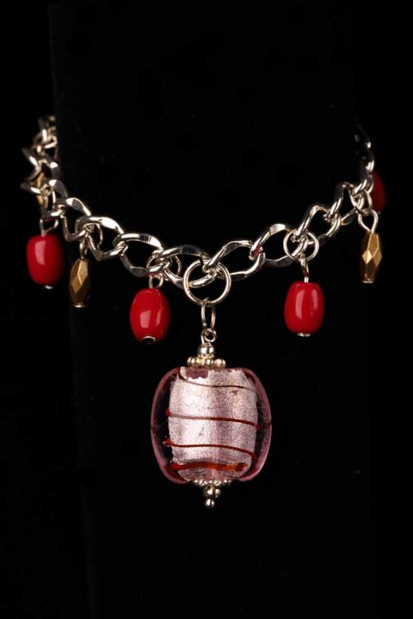 #216 Silver Plated Red Bead and Pink Lampwork Charm Bracelet