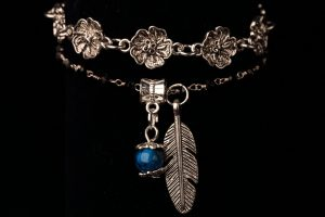 #62 Silver Plated Cuff Bracelet With Swarovski Crystal And Leaf Pendant