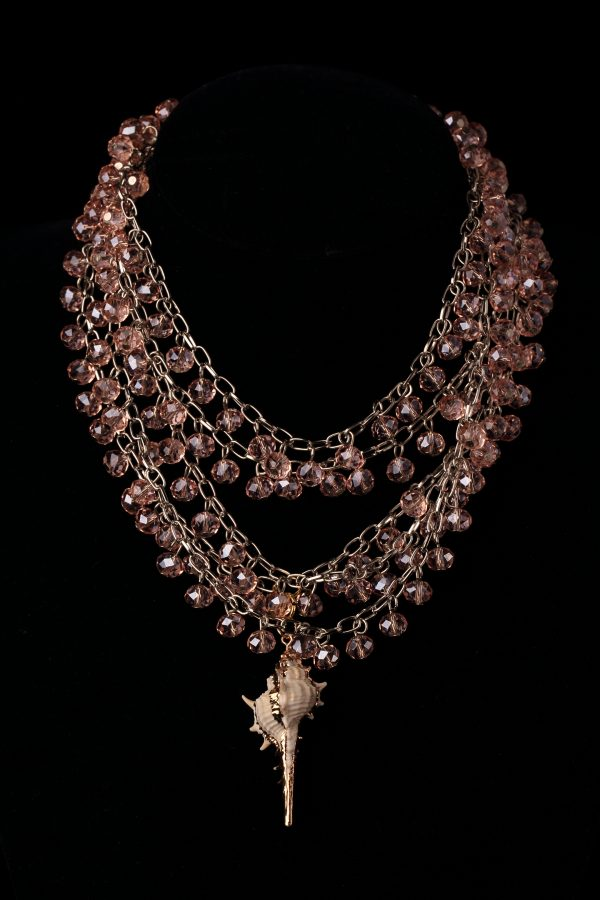 #185 Multi-strand Beaded Necklace And Conch Pendant