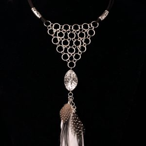 Ethnic Silver Plated Necklace With Feathers
