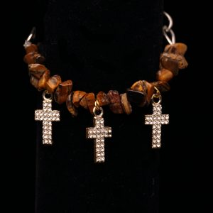 #205 Tiger's Eye Bracelet With Rhinestone Crosses