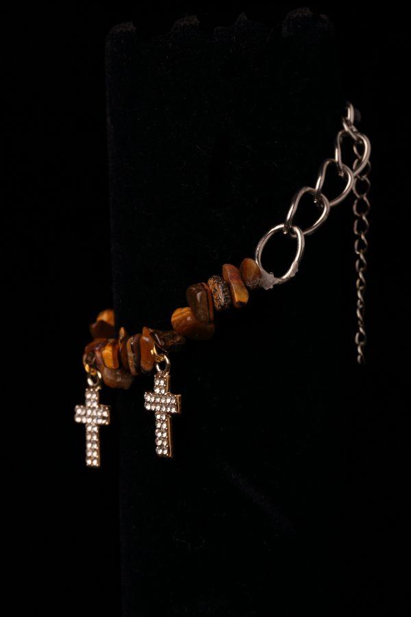 #205 Tiger's Eye Bracelet With Rhinestone Crosses