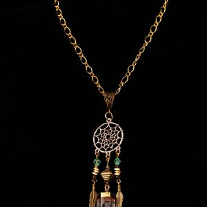 #208 Dream Catcher Necklace with Quartz Pendant.