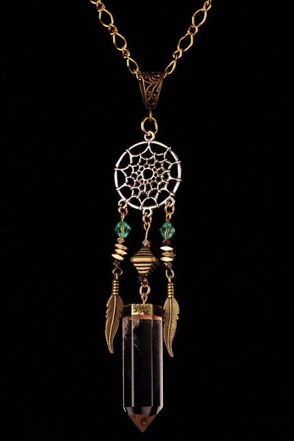 #208 Dream Catcher Necklace with Quartz Pendant.