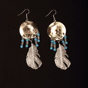 #86 Gold Plated Dream Catcher Earings With Feather