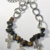 Tiger's Eye Bracelet With Rhinestone Crosses
