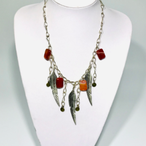 Art Deco And Red Agate Necklace